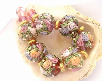 7 Floral Hollow Beads & 14 Spacers Handmade Lampwork