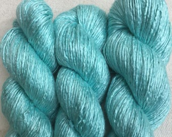 Silk Yarn Hand Dyed  worsted weight  - Duck Egg