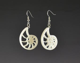 Small Fibonacci Spiral Nautilus Earrings- upcycled, recycled sacred geometry spiritual jewelry white dangle corian handmade gift idea