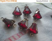On Sale 25% Off Siam Ruby Red 8mm Bell Brass Ox Connectors Two Loops 6 Pcs