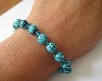 Beaded Bracelet, Turquise and Glass, Hand strung