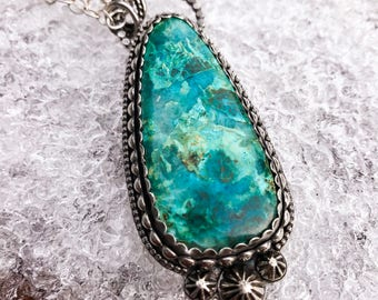 Sterling Silver and Chrysocolla pendant necklace