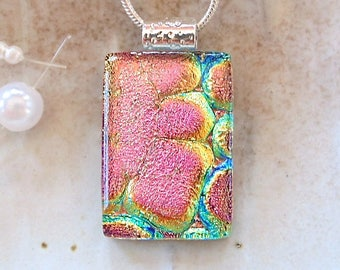 Pink Necklace, Gold, Aqua, Dichroic Pendant, Petite, Fused Glass Jewelry, Necklace Included, A9
