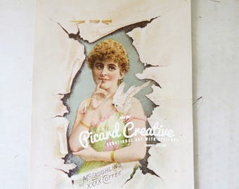 Victorian Coffee  Trade Card McLaughlin's XXXX Coffee Victorian Young Woman with Bird