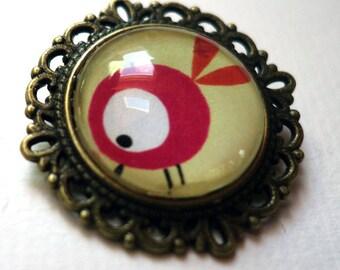 Flower brooch, red turrón PF088B