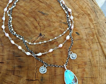 Turquoise Multi strand  necklace, Boho style strand necklace, Silver ,turquoise, blue diamond  and natural pearl Layered necklace