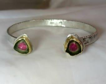 Tourmaline Bracelet, Watermelon Tourmaline Cuff, Front open silver and 22 kt gold gemstone cuff,