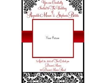 Wedding Invitations RED Damask