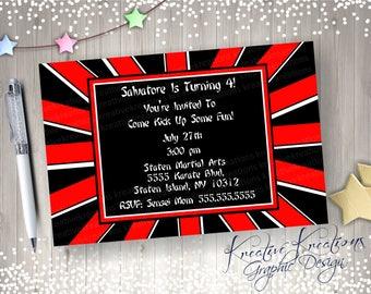 Karate Birthday Invitations / red and black invitation / kung fu Karate party theme / Girl or boy invitation / Digital Design / Printable