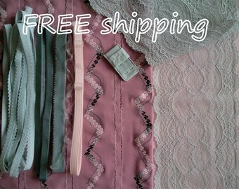 FREE Ship DIY Fabric + Notions Antique Pink & Grey Zigzag for 1 BRA + Panty by Merckwaerdigh