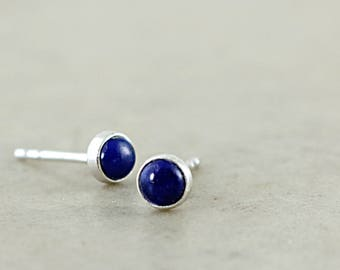 Lapis lauli stud earrings, Sterling Silver, blue gemstone posts, Dots