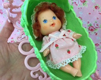 Vintage Strawberry Shortcake Berry Baby Doll and Cradle!!.. Great, Clean Condition!!