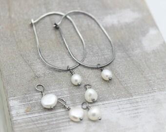 Pearl Sterling Silver Interchangeable Dangle Hoop Earrings