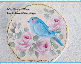 Blue Bird In the Roses Bottle Accent Art, Home Decor, Shabby Romantic Cottage Decor, Hand Painted Pink Roses, ECS
