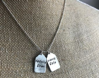 Personalized Sterling Silver Tag Necklace - Gift for Her - Silver Necklace - Jewelry - Tag Jewelry - Hand Stamped - Personalized Jewelry