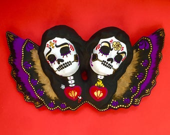 Day of the Dead ANGELS Twins Paper Mache Wall Hanging Folk Art