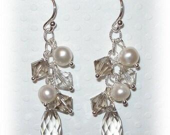 20% OFF Bridesmaid Earrings Swarovski Teardrop Custom Color Pearl Drop Beaded Wedding Bridal Earrings Sterling Silver