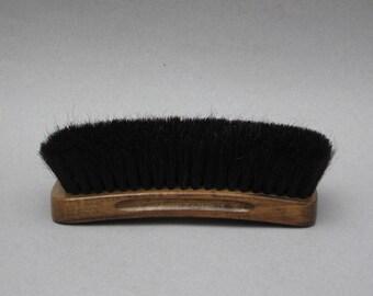 Vintage 100% Horse Hair Brush Large Horsehair Shoeshine Brush Groved Wooden Handle Boot Shine Brush
