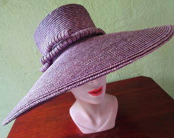 Huge Purple  Frank Olive Natural Straw Hat Private Collection Sun Derby Church Easter Beach Pool Tea