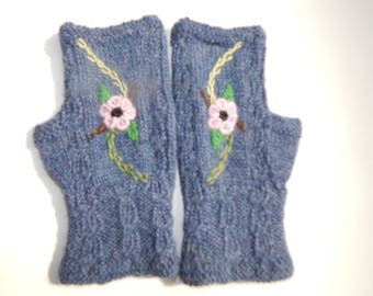 Alpaca Fingerless gloves, Hand knitted, Embroidered Flowers, Winter Gloves, Hand made