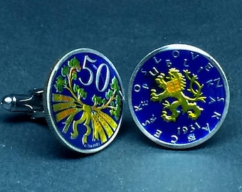 Czechoslovakia coin cufflinks  50 Haleru  22mm.