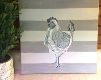 Rooster with stripes - original wall art - rooster painting - farmhouse decor - cottage decor - neutral stripes - free personalization