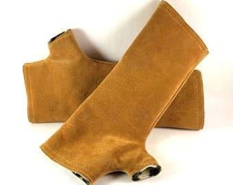 Leather Fingerless Gloves, Wrist Warmers, Long Gloves