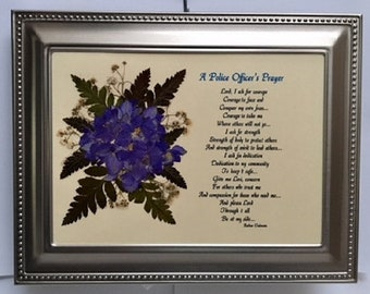 A Police Officer's Prayer Verse with Real Pressed Flowers in a 5 x 7 Rectangular Brushed Silver Beaded Frame