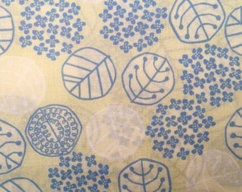 Spring Leaf in pale yellow and sky blue Japanese cotton fabric Koizumi Lifetex