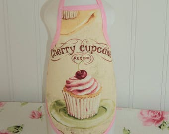 Cherry Cupcake  Dish Soap Bottle Apron
