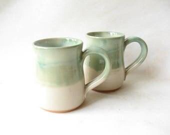 Pottery Mugs 12 oz, Coffee Mugs made in Stoneware, Ceramic Coffee Mugs Set of 2