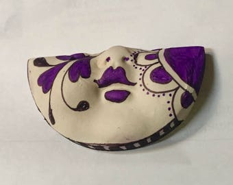 Handmade clay face  half face goddess sugar skull  woman doll head  jewelry craft supplies  cabochon  mosaics dolls  craft  spirit square