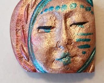 Handmade clay face  head moon madonna cabochon mosaic tile woman lady craft supplies  handmade cabochon  mosaics dolls jewelry craft parts