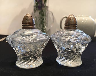 Vintage IRice Salt and Pepper Shakers Sterling tops Cut Glass