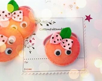 Peach hair Clip or hair tie, Peach barrette, Handmade Felt Peach hair bobble, Peach hair elastic, Ponytail holder, pigtails