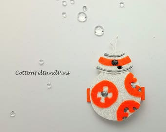 BB8 Star wars droid inspired Hair clip, Handmade felt and glitter BB8 robot hair barrette BB8 inspired hair slide Single or Pairs