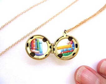 Personalized Jewelry, Tiny Library Locket, Hand-Painted Miniature Books