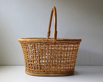 Vintage woven rattan, bamboo harvest basket with handle