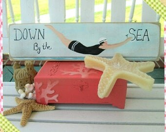 Sign, 1950  Vintage Beach Sign, Farmhouse, Shabby Chic Sign, Signage, 1950s Bathing Beauty Sign, Seashore, Beach Wooden Sign