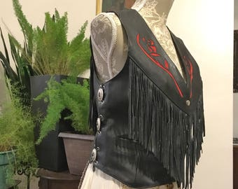 Interstate leather Black Leather Motorcycle Women's Vest with fringe Size M