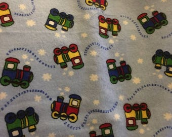 "Snuggle Flannel Fabric NEW 1 yard x 44"" Trains on Blue"