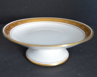 GDA Limoges One Tier Cake Stand -Made in FRANCE  -Vintage French Porcelain Butterfly Gold Encrusted Dish