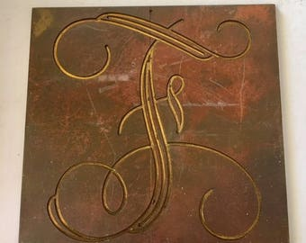 Letter F Vintage Engraving Plates Small Metal Plates for Personal Engraving , Altered Art, Collage and Jewelry Making.