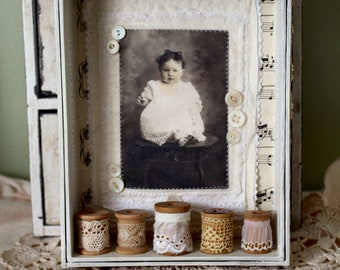Shabby Spools Altered Box with fabric collage and vintage embellishments