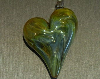 Lampwork Boro Glass Pendant - Focal Bead - HEART green gold shimmer