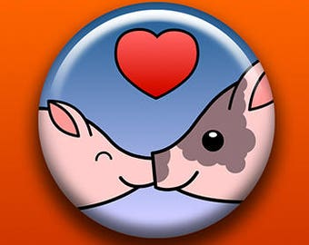 Piggy Love - Button / Magnet / Bottle Opener / Pocket Mirror / Keychain - Cute Animal - Sick On Sin