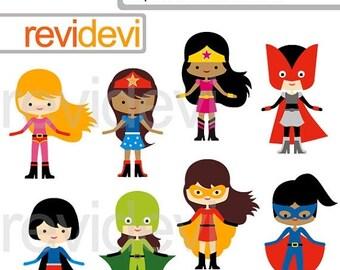 35% OFF SALE Superhero Girls team clipart, digital clip art, superhero digital images