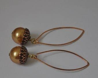 Acorn Earrings,  Long Earrings,  Copper Earrings,  Fall Jewelry,  Nature Inspired,  Swarovski Crystals