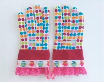 KIDS Designer Garden Gloves. Owls and Lace. Children's Gardening Work Gloves.