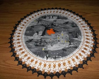 Crocheted Halloween Doily Haunted House Fabric Center with Crocheted Edging 20 inches One Of A Kind